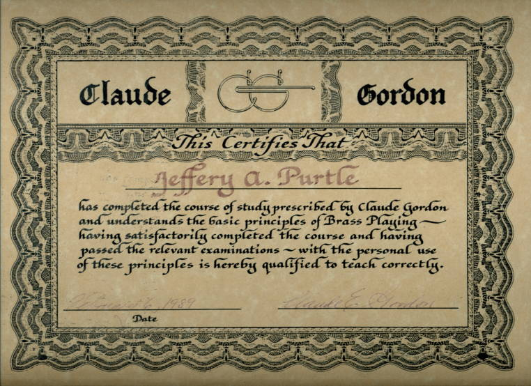 "Claude Gordon ""Certified"" Teacher Certificate - Jeff Purtle"