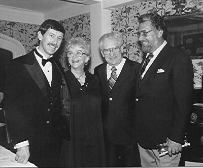 December 8, 1983 Gordon family gathering at Carnegie Hall after a concert recital given by youngest son, Steven   left to right - Steven, Jenny, Claude and Gary