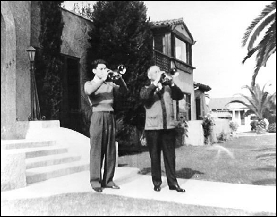 Claude Gordon and Herbert L. Clarke on November 26, 1937, after a lesson at Clarke's home in Long Beach , California.