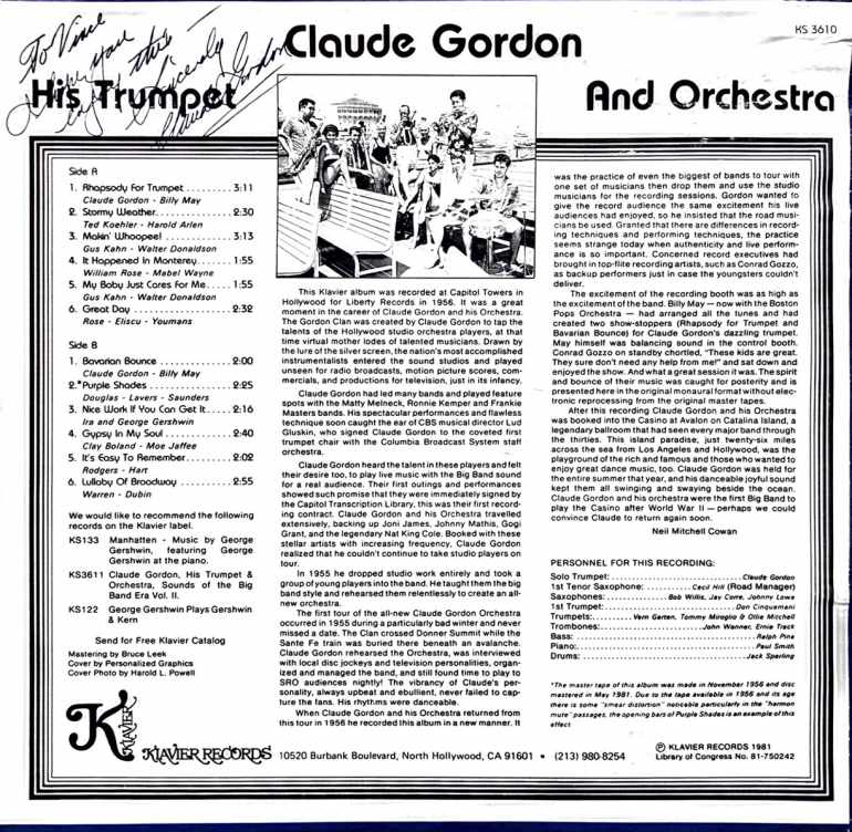 Claude Gordon, His Trumpet and Orchestra - Volume 1 - Back