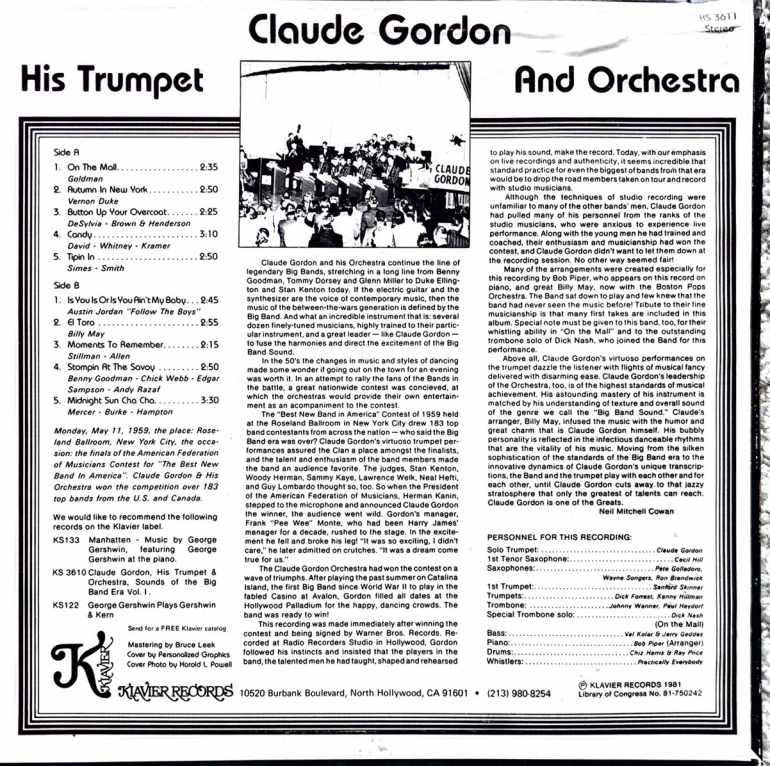 Claude Gordon, His Trumpet, and His Orchestra - Back - Volume 2