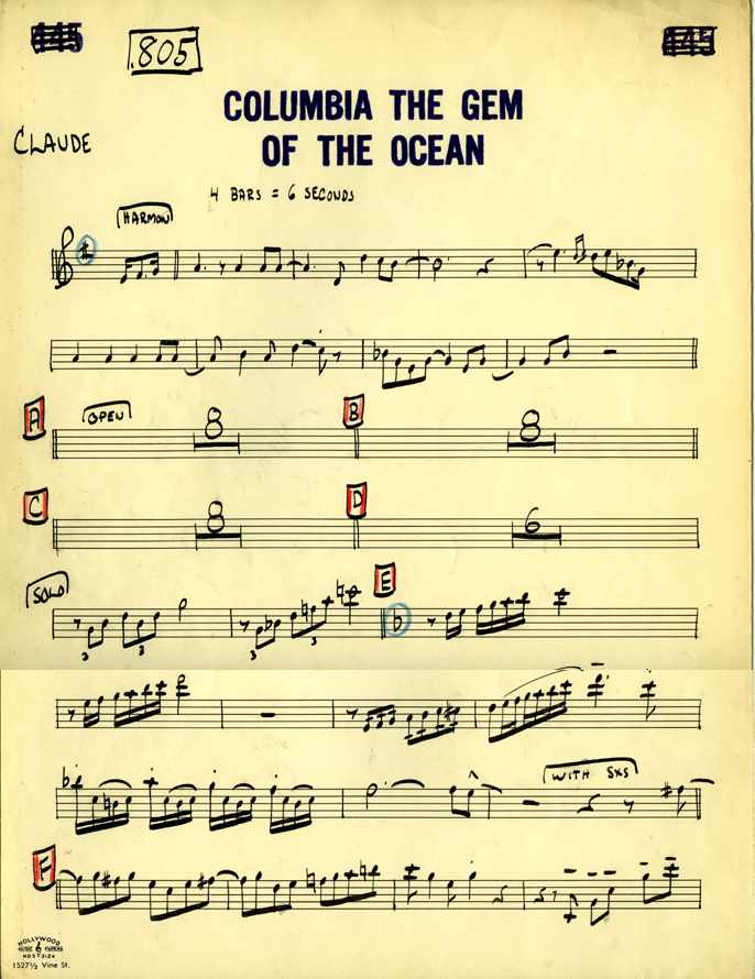 Claude Gordon playing Columbia The Gem of The Ocean - Page 1