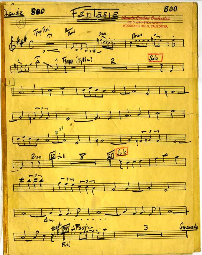 Claude Gordon playing trumpet on Fantasia arranged by Billy May - Page 1